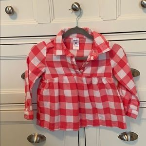 Carter's Girls Pink and White Buffalo Plaid Top